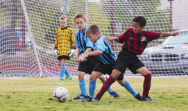A Group of Youth Soccer Players Compete. Las Vegas, Nevada - October 18: A Summerlin park on October 18, 2014, in Las Vegas, Nevada. A Group of American Youth Royalty Free Stock Photography