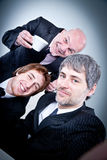 Group of yuppies making themself a selfie Stock Photo