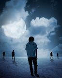 Group of zombie walking under full moon Royalty Free Stock Image
