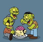Group of zombies eating brain. Illustration of a group of zombies eating brain Stock Photos