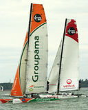 Groupama and veolia catamarans at cowes week 3 Royalty Free Stock Images