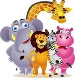 Groupe animal de dessin animé Photo libre de droits