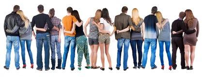Groupe arrière de vue de couples Photographie stock