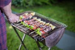 Groupe asiatique d'amis faisant le barbecue et les shashliks grillés dessus Image libre de droits