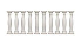 Groupe blanc d'isolement de colonnes de style néoclassique photographie stock