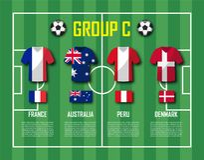 Groupe C d'équipe de la tasse 2018 du football Joueurs de football avec l'uniforme de débardeur et les drapeaux nationaux Vecteur Photos stock