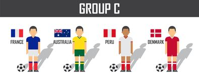 Groupe C d'équipe de la tasse 2018 du football Joueurs de football avec l'uniforme de débardeur et les drapeaux nationaux Vecteur Image libre de droits