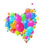 Groupe coloré de coeur de ballons Images libres de droits