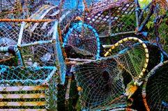 Groupe coloré de paniers de pêche Images libres de droits
