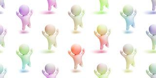 Groupe coloré de petits caractères mignons heureux sautant avec enthousiasme dans une scène blanche illustration libre de droits