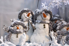 Groupe of cute snowmen Royalty Free Stock Image