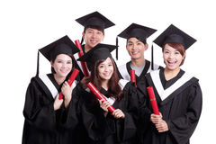 Groupe d'étudiant de diplômés heureux Photos stock