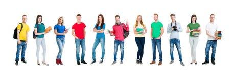 Groupe d'étudiants adolescents d'isolement sur le blanc Photos libres de droits