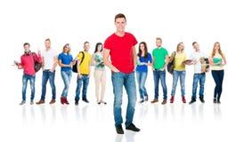Groupe d'étudiants adolescents d'isolement sur le blanc Photographie stock