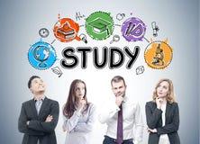 Groupe d'étudiants de MBA, icônes d'étude Photo libre de droits