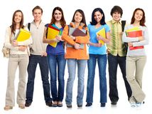 Groupe d'étudiants debout Image stock