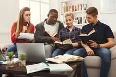 Groupe d'étudiants divers étudiant à la maison l'atmosphère sur le divan Photographie stock libre de droits