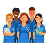 Groupe d'étudiants en médecine, d'infirmières ou d'internes Images stock
