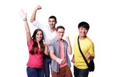 Groupe d'étudiants enthousiastes Images libres de droits