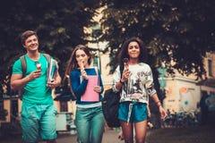 Groupe d'étudiants ethniques multi marchant dans une ville Photo stock