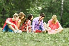 Groupe d'étudiants heureux avec des livres du parc un jour ensoleillé Images libres de droits