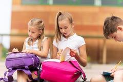 Groupe d'étudiants heureux d'école primaire dehors Photos libres de droits
