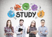 Groupe d'étudiants, icônes d'étude Photos stock