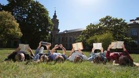Groupe d'étudiants occupés étudiant ensemble en parc banque de vidéos