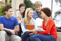 Groupe d'étudiants racial multi s'asseyant dehors Images stock