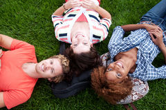 Groupe d'étudiants universitaires heureux dans l'herbe Photographie stock