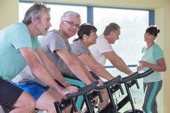Groupe d'aînés à l'aide des vélos de rotation Images stock