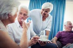 Groupe d'aînés agissant l'un sur l'autre Image libre de droits