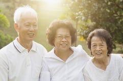 Groupe d'aînés asiatiques célébrant l'amitié Photographie stock libre de droits