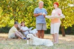 Groupe d'aînés avec le chien en parc Photos stock