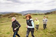 Groupe d'aînés courant dehors sur les collines vertes Photographie stock libre de droits