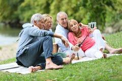 Groupe d'aînés heureux ayant le pique-nique prenant le souvenir de selfie Image stock