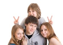 Groupe d'adolescents d'isolement sur un blanc Photographie stock