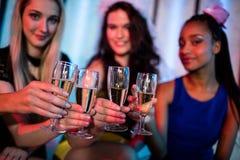 Groupe d'ami de sourire grillant le verre de champagne Images stock