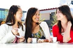 Groupe d'amies ayant le café Images libres de droits