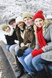 Groupe d'amis à l'extérieur en hiver Image stock