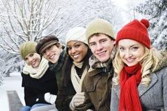 Groupe d'amis à l'extérieur en hiver Image libre de droits