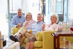 Groupe d'amis à la maison détendant dans le salon avec les boissons froides Image stock