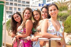 Groupe d'amis à la plage photographie stock libre de droits