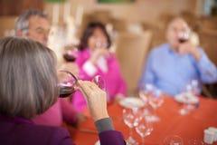 Groupe d'amis âgés buvant du vin rouge Photographie stock