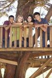 Groupe d'amis adolescents dans la cabane dans un arbre Photographie stock