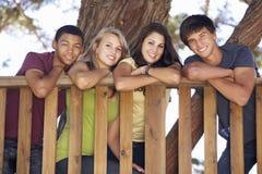 Groupe d'amis adolescents dans la cabane dans un arbre Image stock