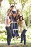 Groupe d'amis adolescents par la cabane dans un arbre Image libre de droits