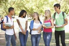 Groupe d'amis adolescents se tenant en parc Images libres de droits
