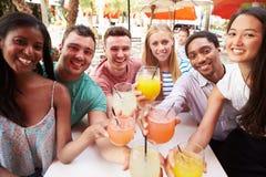 Groupe d'amis appréciant des boissons dans le restaurant extérieur Photographie stock libre de droits