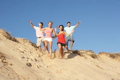 Groupe d'amis appréciant des vacances de plage Photos libres de droits